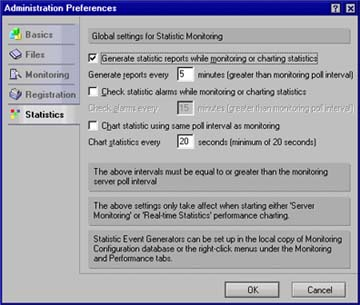 Statistics tab of Admin Preferences dialog box