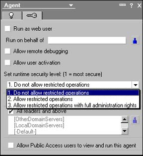 Set runtime security level dialog
