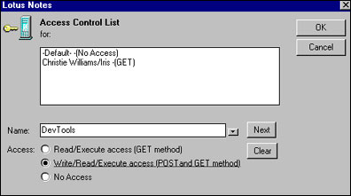 Access control list for files on server
